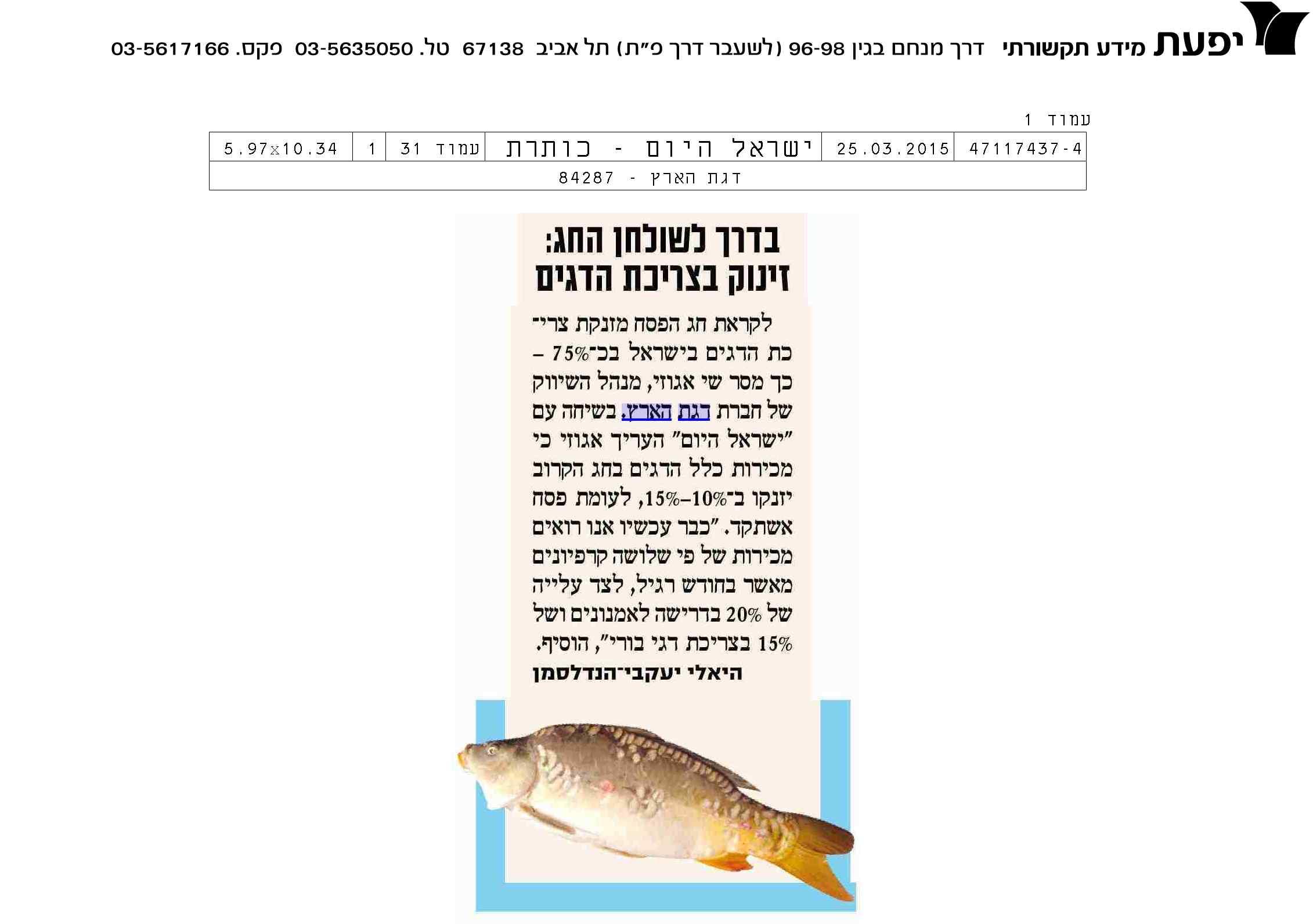 דגים לפסח.רונן הלל יחסי ציבור
