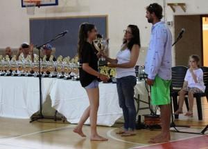איילת אמיר,אלמנתו של איתי ובנו ים,מעניקים גביע נודד ללינוי קורן. צילום בני תירוש