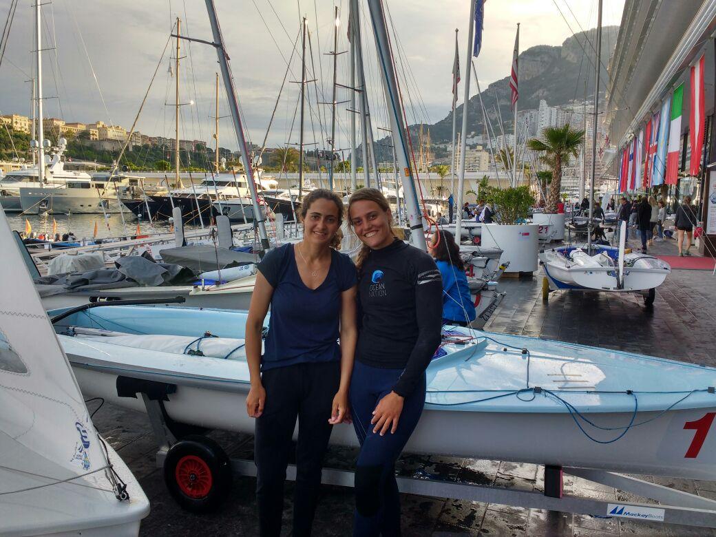 נימה אמיר ונויה ברעם. ראשונות באליפות אירופה במפרשיות 470 במונקו. צילום איגוד השייט